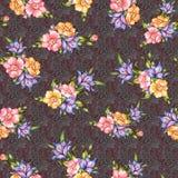 Sömlös klassisk blomma med texturbakgrund stock illustrationer