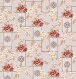 S?ml?s klassisk mono blomma med geometrisk prydnadbakgrund stock illustrationer