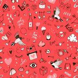 Sömlös klottermodell för dag för St-valentin` s Arkivfoton