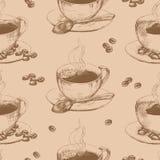 Sömlös kopp av varmt kaffe royaltyfri illustrationer
