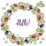 Sömlös krans med blom- romantiska beståndsdelar, jordgubben och violett royaltyfri illustrationer