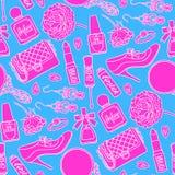 Sömlös kvinnlig saker för rosa färger och för blått Royaltyfri Foto