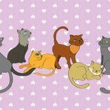 Sömlös linje modell för vektor med katter Royaltyfri Foto