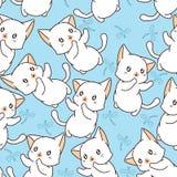 Sömlös liten katt- och sländamodell vektor illustrationer