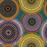 Sömlös ljus modell med orientaliska mandalas Islam arabiska, asiatiska motiv Kalejdoskoptryck Tappning snör åt lynne stock illustrationer