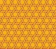 Sömlös lyxig vinous röd och gul sexhörnig medurs roterande solmodellvektor Arkivbild