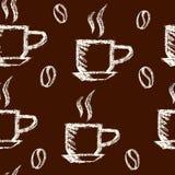 Sömlös målad modellkrita för kaffe Arkivfoton
