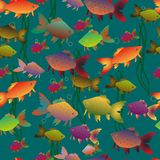 Sömlös mång--färgad guldfiskbakgrund vektor illustrationer
