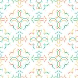 Sömlös mångfärgad abstrakt geometrisk vektormodell med blom- arabesques royaltyfri illustrationer