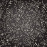 Sömlös mörk textur med blomman vektor illustrationer
