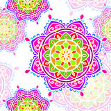 Sömlös Mandalaregnbågevit Arkivbild