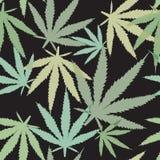Sömlös marijuanabladmodell Vektor Illustrationer