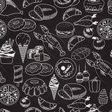 Sömlös mat för vektor på svart tavlabakgrund stock illustrationer
