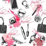 Sömlös mode- och skönhetsmedelbakgrund med sminkkonstnären anmärker också vektor för coreldrawillustration royaltyfri illustrationer