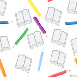 Sömlös modell av anteckningsböcker och färgade blyertspennor Fotografering för Bildbyråer