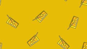 Sömlös modell av att upprepa alkoholiserade coctailar i ett exponeringsglas med is och ett sugrör på en gul bakgrund ocks? vektor stock illustrationer