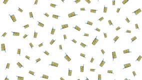 Sömlös modell av att upprepa alkoholiserade coctailar i ett exponeringsglas med is och ett sugrör på en vit bakgrund ocks? vektor stock illustrationer