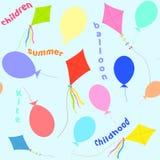 Sömlös modell av ballonger och en drake också vektor för coreldrawillustration stock illustrationer