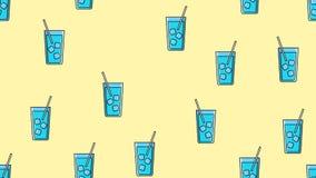 Sömlös modell av blått som upprepar alkoholiserade coctailar i ett exponeringsglas med is och ett sugrör på en gul bakgrund ocks? vektor illustrationer