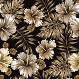 Sömlös modell av bladguld och blommor royaltyfri illustrationer