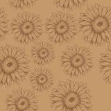 Sömlös modell av blommagerberaen på den bruna bakgrunden royaltyfri illustrationer