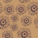 Sömlös modell av blommagerberaen på den bruna bakgrunden stock illustrationer