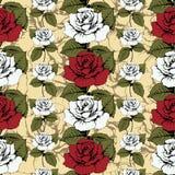 Sömlös modell av blommarosor Vävde röda och vita rosor, utsmyckat Gul bakgrund med blommiga modeller Vridna knoppar, tjänstledigh vektor illustrationer