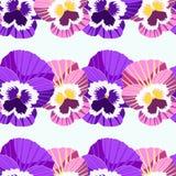 Sömlös modell av blommor i radvioletpansies vektor vektor illustrationer