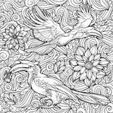 Sömlös modell av blommor och papegojor royaltyfri illustrationer