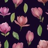 Sömlös modell av blommor och sidor av magnolian stock illustrationer