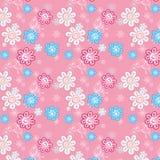 Sömlös modell av blommor på en rosa bakgrund för childrenEPS stock illustrationer