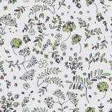 Sömlös modell av blommor, sidor, ris Blom- tyg Arkivfoto
