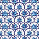 Sömlös modell av cirklar med blåa blommor vektor illustrationer