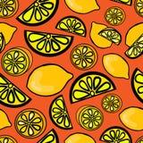Sömlös modell av den gula citronen Royaltyfri Fotografi