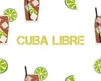 Sömlös modell av den KubaLibre coctailen med limefrukt stock illustrationer