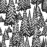 Sömlös modell av den utdragna granskogen stock illustrationer