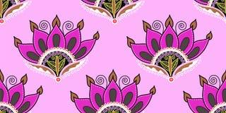 Sömlös modell av designen för blomma för lotusblomma för handteckning den rosa Stock Illustrationer