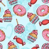 Sömlös modell av donuts, godisar och lollypops royaltyfri illustrationer