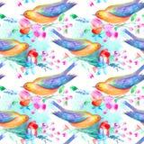 Sömlös modell av en fågel och blommor Royaltyfria Foton