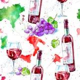 Sömlös modell av en flaska av rött vin, exponeringsglas, översikt av Italien och druvor vektor illustrationer