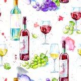 Sömlös modell av en flaska av vit och rött vin, druva och exponeringsglas stock illustrationer