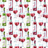 Sömlös modell av ett exponeringsglas, en flaska och ett rött vin vektor illustrationer