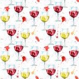 Sömlös modell av ett glass en röd och vitt vin och färgstänk royaltyfri illustrationer