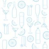 Sömlös modell av exponeringsglas och flaskor Royaltyfri Fotografi