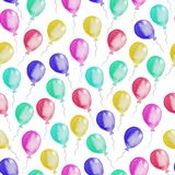 Sömlös modell av färgrika ballonger för flygillustration för näbb dekorativ bild dess paper stycksvalavattenfärg vektor illustrationer