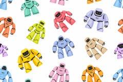 Sömlös modell av färgrika olika robotar Royaltyfri Bild