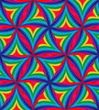 Sömlös modell av färgrika randiga krökta trianglar geometrisk abstrakt bakgrund Arkivbilder
