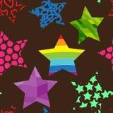 Sömlös modell av färgrika stjärnor Royaltyfri Bild