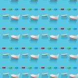 Sömlös modell av fartyg i det blåa havet och de restriktiva boj vektor illustrationer