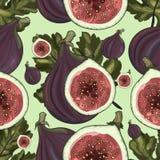 Sömlös modell av fikonträd och fikonlöv royaltyfri illustrationer
